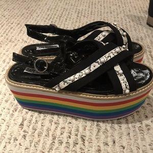 cape Robbin multicolour rainbow shoes sandals